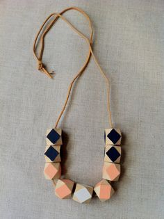 Modern Geometric  Faceted Wood Bead Necklace by thislovesthat, $24.00