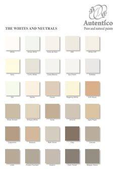 White and Neutral Colour Chart by Autentico to find out more, to order or sign up for a work shop contact or order some paint alicia@craftynest.co.uk or www.craftynest.co.uk