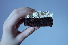 melt-in-your-mouth brownies with coconut funfetti frosting
