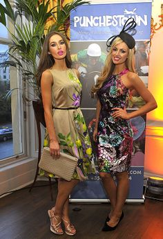 Roz Purcell and Rosanna Davison at the Punchestown racing Festival launch © Michael Chester NO reproduction fee Miss World, My Beauty, Nice Dresses, Peplum Dress, Product Launch, Racing, Celebrities, Hats, Sexy