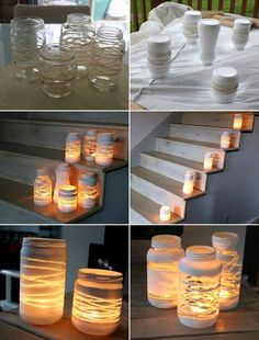 Deck decor craft diy candles, painted jars и jar lanterns Diy Candles, Candle Jars, Candle Holders, Glass Jars, Small Candles, Glass Candle, Clear Glass, Christmas Crafts, Christmas Decorations