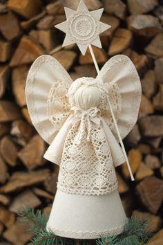 Navidad Angel Tree Topper decoración de Navidad de casa de
