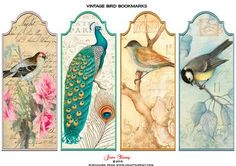 Antique Birds Bookmarks on Craftsuprint designed by June Young - Four shaped topped bookmrks featuring vintage bird illustrations. Pretty and colourful as well as being useful. - Now available for download!
