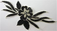 """Flower with Black Sequins and Silver Beads 10"""" x 5"""""""