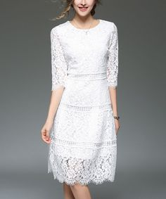 White Lace Scallop-Hem Dress