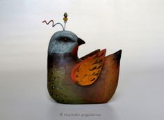 Folk art bird ~ carved wood, rusted tin and wire ~ by Greg Guedel