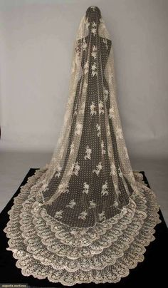 Brussels mixed lace veil, 1870s.