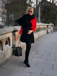 Tomato red sweater and black