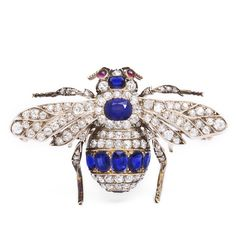Victorian Bumble Bee Brooch. Sapphire and old-mine diamond bumble bee brooch, set in silver and gold. English, ca. 1895