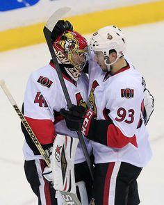 Craig Anderson #41 and Mika Zibanejad #93 Ottawa Senators