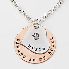 "LOVE LOVE LOVE!  ""Always In My Heart"" Personalized Pet Pendant Necklace - great gift idea for pet lovers!"