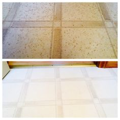 Believe it or not the top photo is my bathroom floor that had just been swept and mopped. The type of linoleum I have in my bathroom has small pores that collects dirt that your average mop won't pick up. I used a mixture of ammonia, vinegar and water. Soaked a towel in the mixture and placed it on the floor. Then used an iron to steam the towel and the floor and with a little scrubbing the dirt came right up. Floor looks like new!