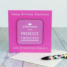 Funky Nail File Princess and Prosecco Slogans WINE LOVER BIRTHDAY PRESENT GIFT