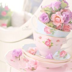 Vintage shabby chic home decor Pastel unicorn color pink blue light violet green mint beautiful colorful kawaii things objects cute orange yellow flowers cups