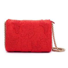 Ruche & Hues Abstract Beaded Slingbag Red (340 CAD) ❤ liked on Polyvore featuring bags, handbags, sling handbags, hand bags, embellished handbags, sling purse and party handbags