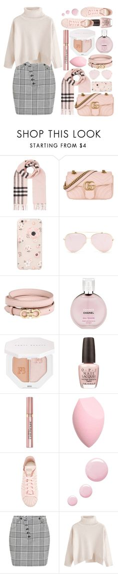 """Pink Plaid"" by carefreecouture ❤ liked on Polyvore featuring Burberry, Gucci, Salvatore Ferragamo, Chanel, Puma, OPI, L'Oréal Paris, adidas, Topshop and Alexander Wang"