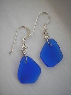 Sea Glass Earrings Cobalt Sea Glass Earrings by TheTiffanyBlueShop, $25.00