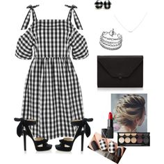 Gingham dress 5 by morgan-a-h on Polyvore featuring мода, Topshop, Jimmy Choo, Valextra, Accessorize, Witchery and NARS Cosmetics