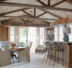 In Good Taste:Carter Kay Interiors - Design Chic - love the dining area and great kitchen with the wood beams! U Couch, Rustic Sunroom, Sunroom Dining, Rustic Wood, Architecture Résidentielle, Exposed Rafters, Exposed Beam Ceilings, Great Rooms, Home Remodeling