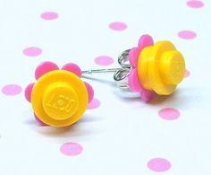 lego earrings with flower