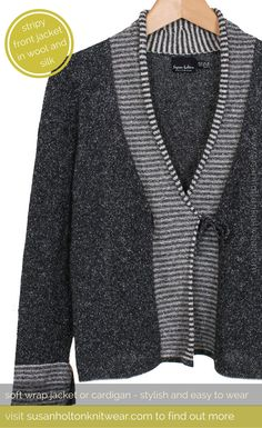 Charcoal coloured soft jacket or cardigan in wool and silk for women who love beautiful colours and stylish unusual knitwear | Contemporary, cosy, easy to wear jumpers and jackets, cardigans and sweaters - beautiful contemporary women's knitwear | Knitted in wool and silk - you can wear year round - Spring, Summer, Autumn & Winter | Makes a beautiful unusual gift for Valentine's Day, Mother's Day, Birthday and Christmas | #knitwear #women's knitwear | www.susanholtonknitwear.com