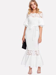 5909c92143c Guipure Lace Panel Self Belted Trumpet Dress -SheIn(Sheinside) Half Sleeve  Dresses