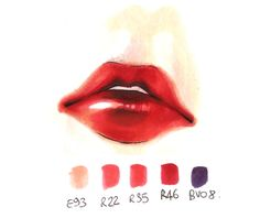 Copic Italy ~ Tutorial: Lips & Lipstick - wow, now that's Copic colouring! Marker Kunst, Copic Marker Art, Copic Pens, Copic Sketch Markers, Copic Art, Copics, Prismacolor, Colouring Techniques, Art Techniques