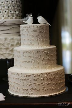 Love letter wedding cake with love bird cake topper ~ Susie's Cakes  Confections ~ Photo: D. Jones Photography
