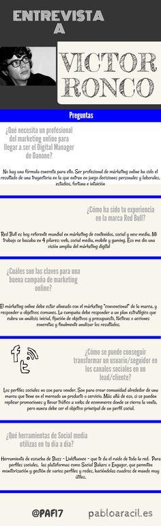 #Infografía de entrevista a Víctor Ronco, actual manager digital de Danone, antes de #RedBull sobre estrategias de marketing online, marketing digital, consejos, tips, estrategias...