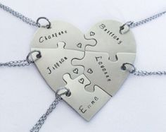 Hand engraved heart puzzle necklaces, shaped like a heart - perfect for 5 people, friendship, family, BFF, five, 5 pieces