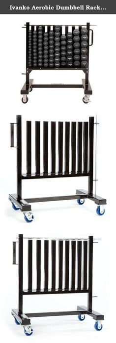 """Ivanko Aerobic Dumbbell Rack on Wheels for Neoprene and Vinyl Dumbbell Sets. Features: 41 pr. Dumbbell rack including BLACK IRD rubber dumbbells (picture at top does not reflect actual color). Security lock bar which can be padlocked for theft provention (lock not included). Easy grip, 2 handed handle designed for easy moving around the club. Solid 2"""" square steel frame construction. 41 pair capacity for 1 lb. - 15 lb. sizes: adjustable capacity to fit club needs. 3 1/2"""" diameter wheels..."""