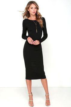 Va Va Voom Black Backless Midi Dress