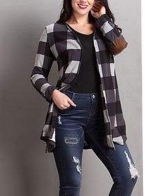 49730f3551650 Love this Black Buffalo Check Elbow-Patch Open Cardigan - Plus by Reborn  Collection on