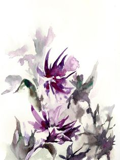 Abstract Flowers Art Print from Watercolor Painting - Watercolor Print - Flowers - Wall Art - Purple Green - Modern Art