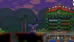 I made a tiny teleport station to my mushroom/truffle-worm farm #Terraria by @ninagoth