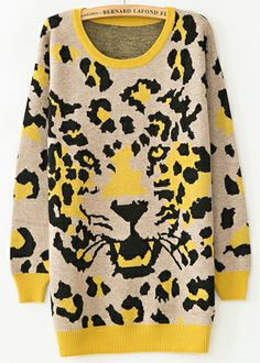 Yellow Long Sleeve Leopard Print Knit Sweater US$30.98