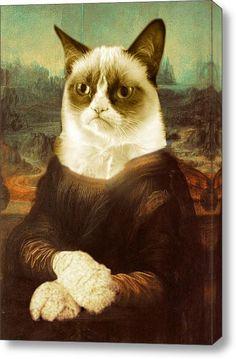 Gatto scontroso Mona Lisa su tela di canapa allungata