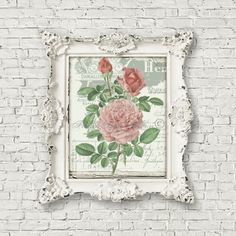 Old Fashioned Roses, French Printable, Digital Image, Shabby Chic Rose Artwork, Digital Collage by FrenchPaperMoon on Etsy
