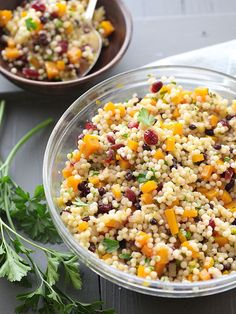 Autumn couscous salad is a whole foods copycat. it's so easy and Healthy Salad Recipes, Whole Food Recipes, Healthy Snacks, Vegetarian Recipes, Dinner Recipes, Healthy Eating, Cooking Recipes, Meat Recipes, Fall Recipes