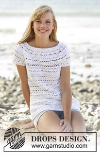 """Seashore Bliss Top - Crochet DROPS top with lace pattern and round yoke in """"Muskat"""". The piece is worked top down. Size: S - XXXL. - Free pattern by DROPS Design"""