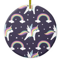 #cute - #Cute Fairy Unicorn  rainbows blue background Ceramic Ornament