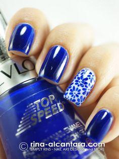 Revlon Royal...blue acrylic paint for the design