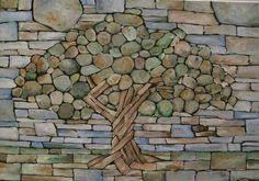 I like this natural mosaic more than the glass mosaics.
