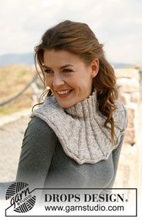 """Knitted DROPS neck warmer in 2 strands """"Baby Alpaca Silk"""". ~ DROPS Design I really like this neck warmer - very pretty! Baby Knitting Patterns, Loom Knitting, Free Knitting, Cowl Patterns, Skirt Pattern Free, Skirt Patterns Sewing, Free Pattern, Drops Design, Magazine Drops"""