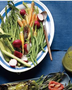 These vegetables -- some blanched, others raw -- function as finger food when served with pistachio-Pecorino pesto as a dip. To serve them as a side dish, drizzle the pesto on top.