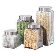 Ribbed Glass 4-pc. Canister Set - Airtight. For cleaning and organizing my pantry!!