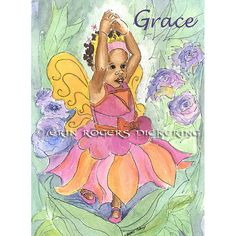 Personalized Thumbelina Ballerina African American by eringopaint