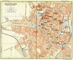 #France. montpellier #centre de #ville, 1926 vintage map,  View more on the LINK: http://www.zeppy.io/product/gb/2/271286615995/