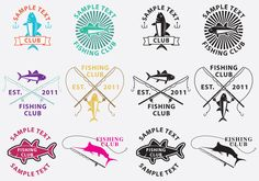 Fishing Logos 121530 -  For your fishing projects or fishing clubs download this vector set of logos with colorful and black and white styles, edit the text or change the fonts for personalize.  - https://www.welovesolo.com/fishing-logos-2/?utm_source=PN&utm_medium=weloveso80%40gmail.com&utm_campaign=SNAP%2Bfrom%2BWeLoveSoLo