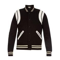 Saint Laurent Classic monochrome varsity jacket featuring polyvore, women's fashion, clothing, black white and yves saint laurent